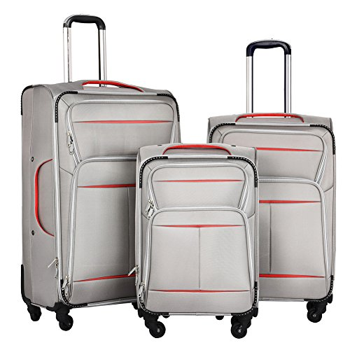 LuggageSetSuitcaseSet3PieceLuggageLightweightSoftShellwith4RollingSpinnerWheelsSuper Durable (20inch,24inch,28inch) (Silver & red) by LEMOONE