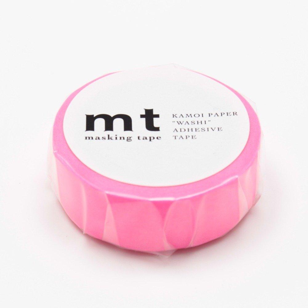 """MT Solids Washi Paper Masking Tape, 3/5"""" x 33', Shocking Pink (MT01P209)"""