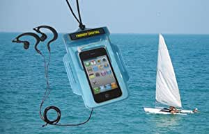 TrendyDigital H2OProof(TM) Audio Waterproof Case for iPhone with Padding, Built in Headphone Adapter, Removable Strap, detachable Armband for iPhone 3, iPhone 4, iPhone 4S, iPhone 5, iPod Touch, Nokia Lumia 900, Nokia Lumia 800, and other Android Smartphone / DROID, with Gym / Sport / Jogging Armband (Blue)