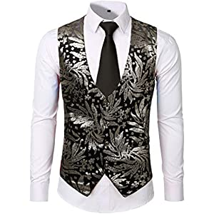 ZEROYAA Mens Hipster Metallic Paisley Printed Single Breasted V-Neck Suit Vest/Tuxedo Waistcoat