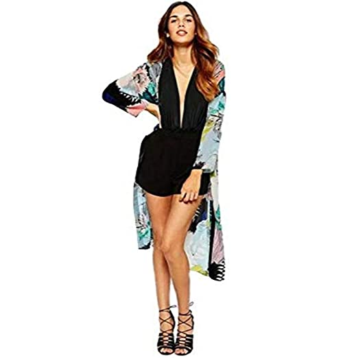 2b2188d832f7c Women's Casual Floral Chiffon Kimono Cardigan Sheer Tops Beach Cover up Loose  Blouse at Amazon Women's Clothing store: