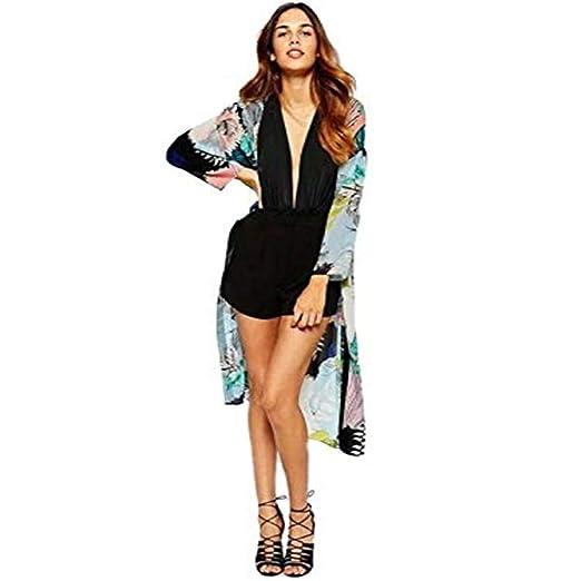 7e2e83bacc Women's Casual Floral Chiffon Kimono Cardigan Sheer Tops Beach Cover up Loose  Blouse at Amazon Women's Clothing store: