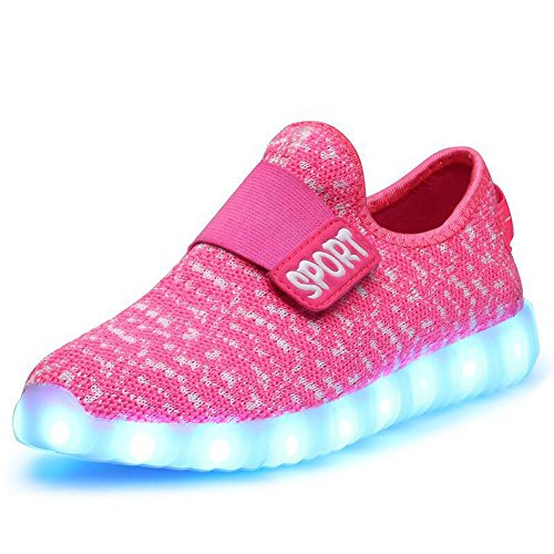 KaLeido Kids 7 Colors LED Light up Shoes Sneakers for Boys Girls (8.5 M US Toddler/EU 25, Pink)