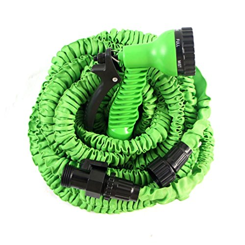 25 Feet Rubber Expandable Garden Hose High Pressure 7 Function Spray Nozzle and Shut-Off Valve Light Weight Strong No Kink And Super Flexible 25FT Green
