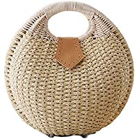 Pulama Wicker Woven Crossbody Straw Beach Bucket Summer Fashion Vacation Women Top Handle Handbag