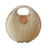 Pulama Wicker Woven Straw Beach Bucket Summer Fashion Vacation Women Top Handle Handbag Beige Round