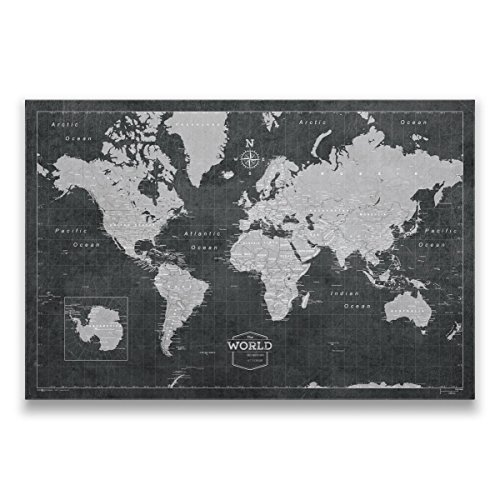 World Travel Map with Pins - Conquest Maps Modern Slate Style Push Pin Travel Map Cork Board, Track Your Travels w/a Top Quality Handmade Unique Canvas Pinable Map w/Cork (36x24 Inches) by Conquest Maps