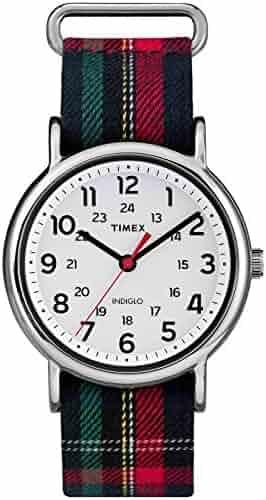 Timex Women's TW2R10900 Weekender Blue Plaid Fabric Slip-Thru Strap Watch