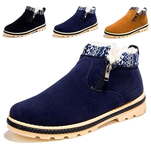 SITAILE Men Fur Lined Ankle Snow Boots High Top Winter Booties Warm Casual Suede Shoes Blue, 41