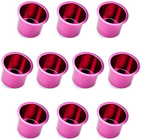 Set of 10 Vivid Silver Aluminum Drop-In Cup Holders by Brybelly