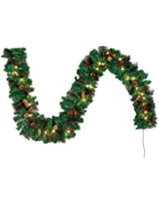 Joiedomi 9Ft Artificial Christmas Garland Prelit with 50 Lights, Bristle, Pine Cones, Holly Berries for Best Christmas Decoration