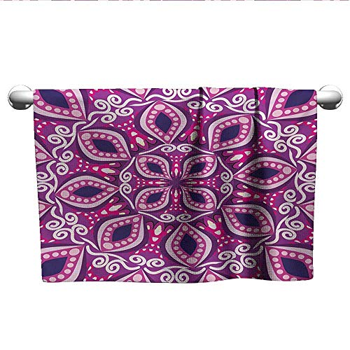 - Floral,Kids Swimming Towels Trippy Flower Motif with Modern Lace Effects and Dots Victorian Swirls Print Absorbent and Super Soft Towels Magenta Pink Plum W 20