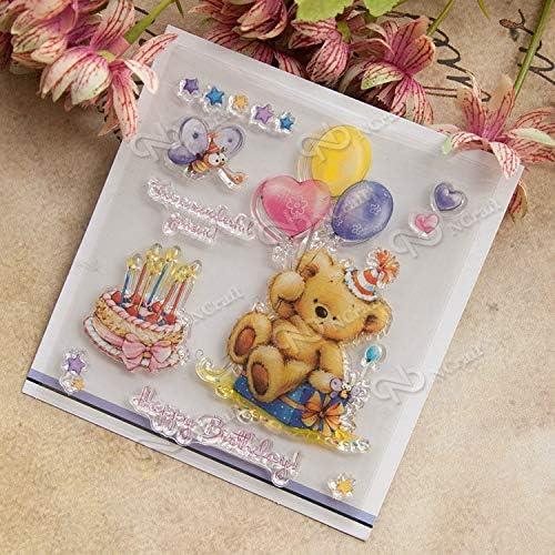 Palloncini torta piccolo orso tamp Timbro trasparente per Scrapbooking gomma di silicone trasparente DIY Photo Album Decor p024