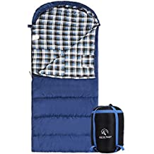 """REDCAMP Cotton Flannel Sleeping Bag Adults, 23/32F Comfortable, Envelope Compression Sack Blue/Grey 2/3/4lbs(95""""x35"""")"""
