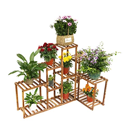 Corner Wooden Plant Stand Holder Assorted Display Shelf Rack with 10 Tiered Shelves for Flowers Planters Garden Patio Balcony Living Room (Plant Corner Stand)