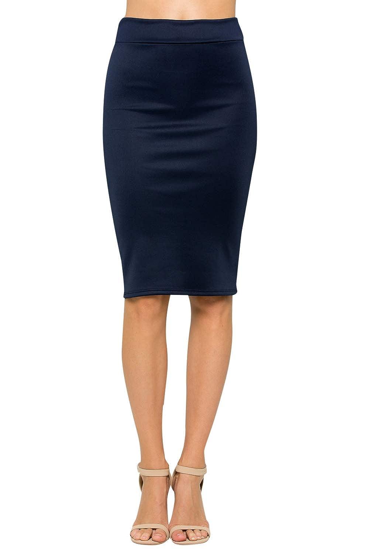 Junky Closet Women's High Waist Stretchy Office Pencil Skirt (Made in USA)