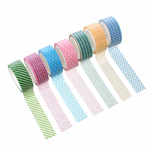 Souarts Paper Adhesive Washi Masking Tape DIY Sticker Craft Box Mixed Random Pattern 10 Rolls (Washi Paper Wholesale)