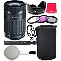 Canon EF-S 55–250mm f/4–5.6 IS STM Lens For Canon T3 T5 T6 T3i T5i T6i T6s 70D 60D 80D 700D 750D 600D 7D Mark II DSLR Cameras + Complete Accessory Kit - International Version (No Warranty)