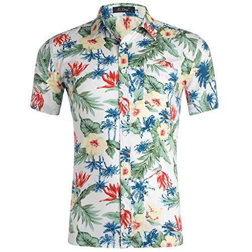 (Toimothcn Men's Tropical Hawaiian T Shirt Casual Short Sleeve Cotton Button Down Aloha Shirt (White9,L))