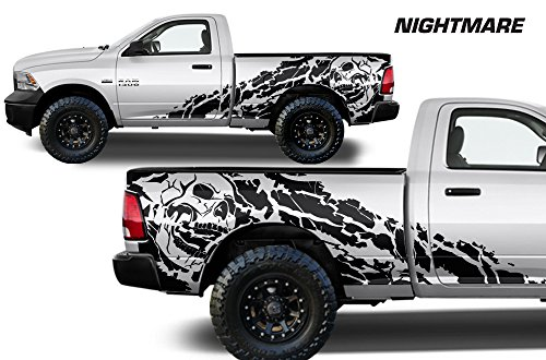 "Dodge Ram 2009-2018 6.5 Bed ""NIGHTMARE"" Graphics Kit 3M Vinyl Decal Wrap - Matte Black"