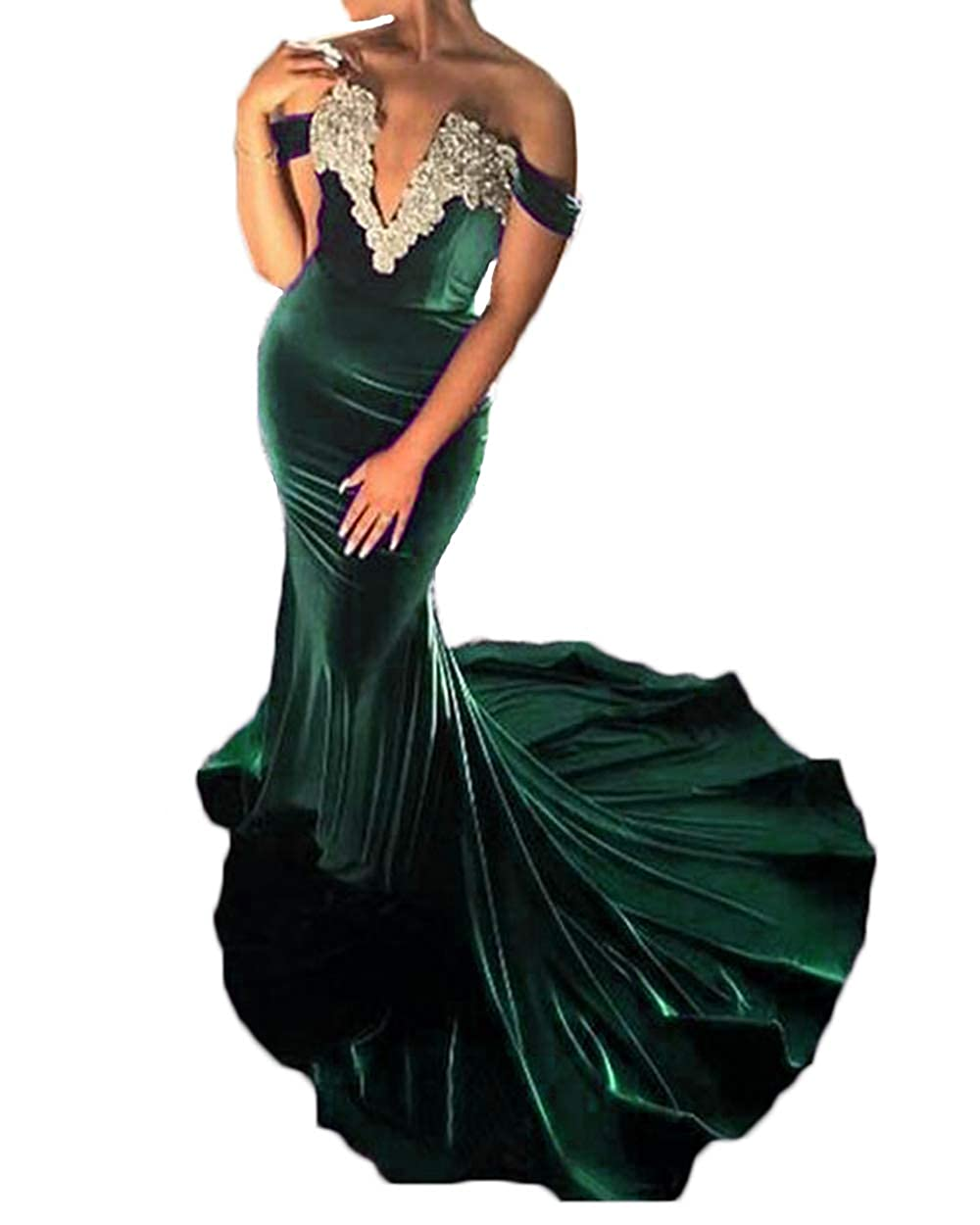 Dark Green alilith.Z Sexy Plunging Sweetheart Velvet Prom Dresses Mermaid Appliques Long Formal Evening Dresses Party Gowns for Women