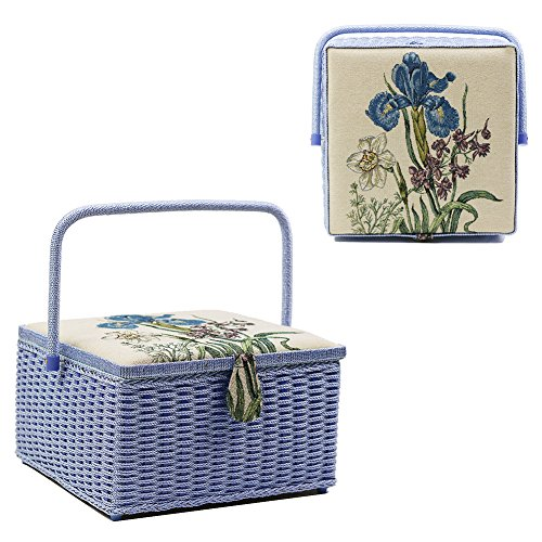 Square Vintage Sewing Basket/Box with Sewing Kit Accessories, Large, 12.5 x 12.5 x 7.5 inches by D&D