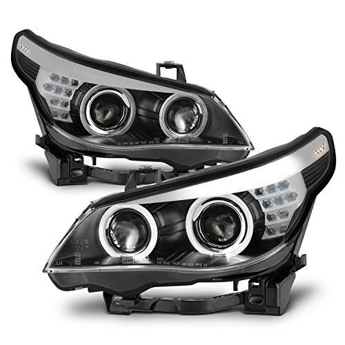 5 Series Projector Headlight - For 2008 2009 2010 BMW E60 5-Series 535i 550i M5 [Non-AFS] [Non-Halogen] LED Black Projector Headlights Left+Right Pair