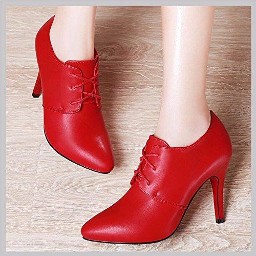 8 Bracelet Le Chaussures Chaussures Chaussures Mariage 35 KHSKX Casual De Chaussures De Femmes Chaussures Travail Rouge 5Cm Femmes Pointe Chaussures vxBnqf1Pn