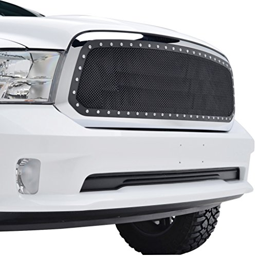 EAG Rivet Stainless Steel Wire Mesh Grille W/Shell for 2013-2018 Dodge Ram 1500