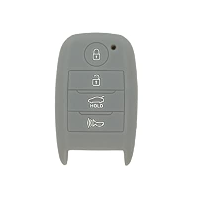 SEGADEN Silicone Cover Protector Case Skin Jacket fit for KIA 4 Button Smart Remote Key Fob CV4150 Gray: Automotive