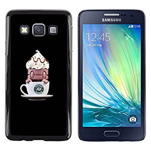 Be Good Phone Accessory // Dura Cáscara cubierta Protectora Caso Carcasa Funda de Protección para Samsung Galaxy A3 SM-A300 // Coffee Funny Monster Small
