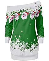 XILALU Womens Merry Christmas Santa Snowflake Print Tops Long Blouse Shirt (M, Green)