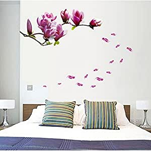 Annong Magnolia Flower Wall Decals Tree Floral Home Room Office Vinyl Decor Wall Sticker Mural Removable Wall Stickers