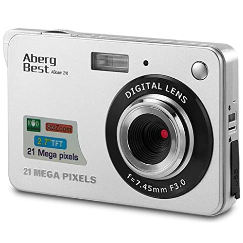 "AbergBest 21 Mega Pixels 2.7"" LCD Rechargeable HD Digital Camera - Digital video camera - Students cameras - Indoor Outdoor for Adult /Seniors / Kids (Silver)"