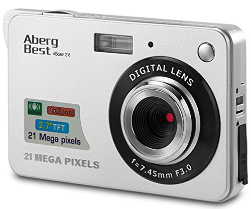 Aberg Best 21 Mega Pixels 2.7″ LCD Rechargeable HD Digital Camera,Video camera Digital Students cameras,Indoor Outdoor for Adult /Seniors / Kids (Silver)