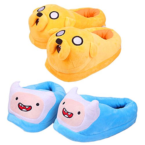 Adventure Time with Finn and Jake Soft Plush Slippers Anime Cosplay Shoes 2pair (Adventure Time Finn Adult Costume)