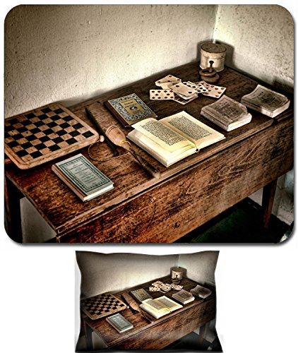 Liili Mouse Wrist Rest and Small Mousepad Set, 2pc Wrist Support IMAGE ID 32343671 Antique child play wood desk with ancient books and old games of vintage checkerboard and aged (Antique Checkerboard)