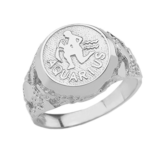 Solid 925 Sterling Silver Aquarius Zodiac Sign Band Nugget Men's Ring (Size - Silver Zodiac Bands