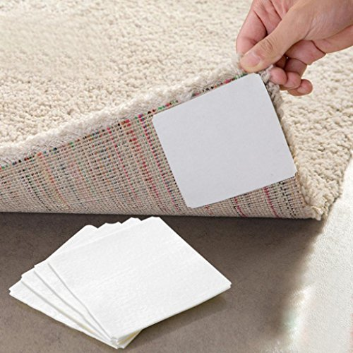 Sujing 4pcs Non-Slip Rug Pads Gel Mat Sticky Gel Pads Double-sided Adhesive Sticker Carpet Pad ()