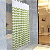 GouuoHi Home Shower Curtain 1pcs Shower Curtain Curtains Polyester Green Activists Bathroom Amenities White Green Stripe Mildewproof Thickened No Deformation Does 180200cm 180180cm 150180cm