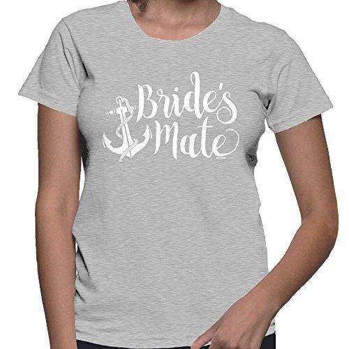 HAASE UNLIMITED Women's Bride's Mate T-Shirt (Light Gray, Medium)