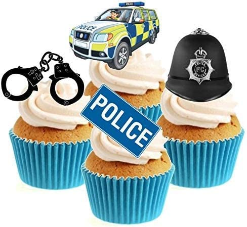 Incredible Novelty Police Mix 12 Edible Stand Up Wafer Paper Cake Toppers Funny Birthday Cards Online Alyptdamsfinfo