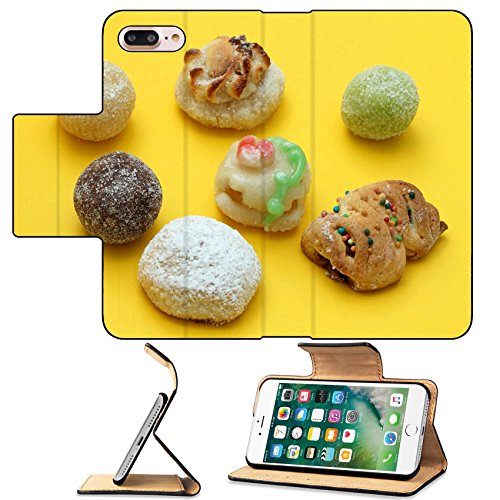 MSD Premium Apple iPhone 7 Plus Flip Pu Leather Wallet Case Almond paste sweets IMAGE 19986555
