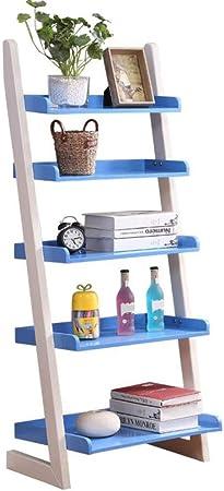 Jcnfa-Estante Estantería De Escalera Moderna Hecho De Madera Estante De Pared Organizador De Estantes para CDs, Discos Libros Home Office Deco (Color : Azul, Tamaño : 23.81 * 15.55 * 55.11in): Amazon.es: Hogar