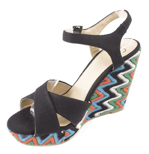 Wellustige Womens Muti-color Zigzag Kriskras Enkellaarsgebonden Platform Sleehak Sandalen Zwart Canvas