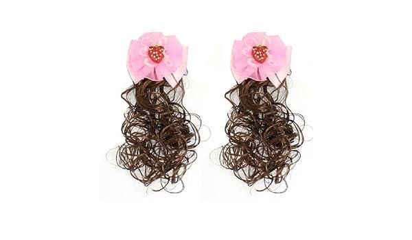 Amazon.com: eDealMax niñas tocado pajarita acento Pinzas cocodrilo peluca postizos Otoño Rosa 2 PC: Health & Personal Care