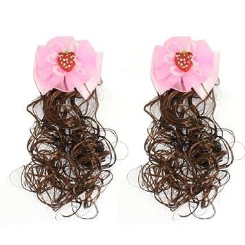 eDealMax niñas tocado pajarita acento Pinzas cocodrilo peluca postizos Otoño Rosa 2 PC