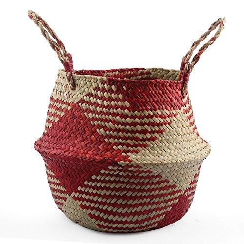 (Best Quality - Flower Pots & Planters - Seagrass Laundry Basket Natural Rattan Flower Basket Vase Planter Nursery Pot Belly Basket Straw Toys Organizer Home Decor - by - 1 PCs)