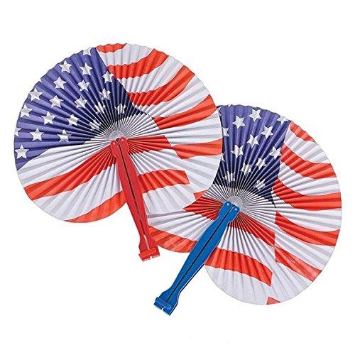Neliblu July 4th Patriotic Themed American Flag Fans Party Favors Toys 1 Dozen ()