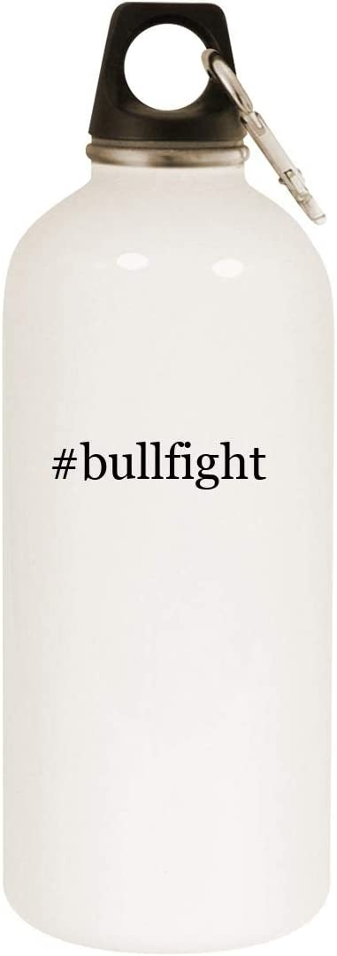 #bullfight - 20oz Hashtag Stainless Steel White Water Bottle with Carabiner, White